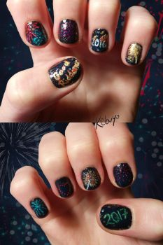 New Year's Nail Art: Good Riddance 2016 by Kebuyo