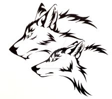 Wolf Pair Tattoo Commission by CaptainMorwen