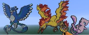 articuno, moltres and mew by princessdragonia