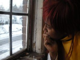 Looking at the snow outside of the window. by BlueRosePetalsQueen