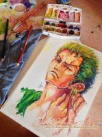 Roronoa Zoro - With Watercolours by ClauLittlePortgas