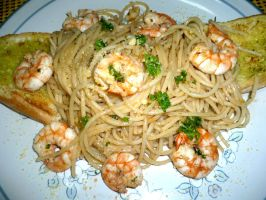 Garlicshrimp pasta wdolive oil by TheFellowship01