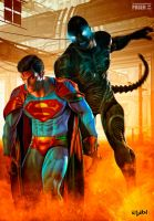 SUPERMAN VS GIGALIENS by isikol