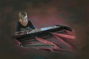 Angel on the piano by TinasArtwork