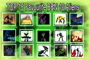 my top 15 favourite Ben 10 Aliens by toongrowner