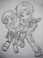 Leon and  Ashley Chibi by Roadhouse-Hunter