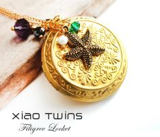 SOLD -Starfish Charm Brass Filigree Locket Neclace by crystaland