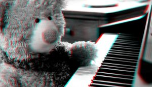 Piano Bear 3-D conversion by MVRamsey