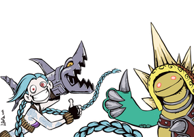 Jinx and Rammus say hi by suthnmeh