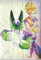 GOKU, GOHAN Y CELL by J-S-S-C