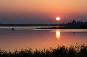 Smoky Sunset - Astotin Lake by JestePhotography