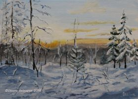 Sunset In The Winter Forest- oil by Oksana007