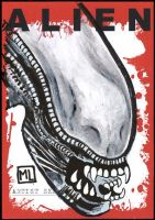 Alien sketch card - Alien Face by YouCannotFalter