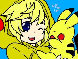 Len and Pikachu by chifferon101