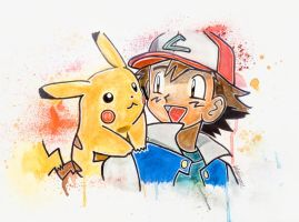 Ash and Pikachu by LukeFielding