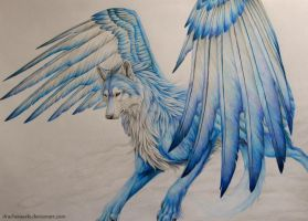 Wolf with wings by Drachenseele