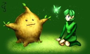 Commission: Saria and Deku Sprout by Fenrisfang