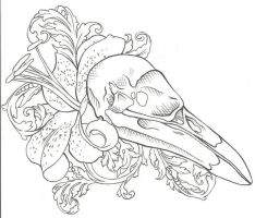 Raven Skull Tattoo Design by jinx2304