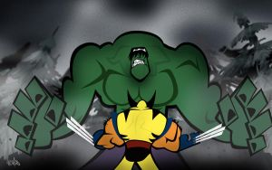 Hulk vs. Wolverine by RHCOMICS