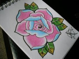 rose tattoo flash design by Frosttattoo
