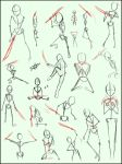 Sword sickle and blade poses by MissPinks
