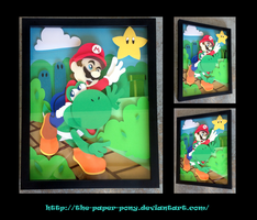 11 x 14 Mario and Yoshi Shadowbox by The-Paper-Pony