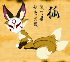 Kitsune Flat Color and Background by Chrissyissypoo19