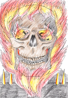 Ghost Rider' Head: Ink + colours by AthenrilTheThief