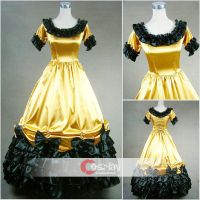 Ruffled Bow Satin Classic Gothic Lolita Dress by wendywei2012