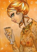 ACEO 77: 'DRINK ME'- CHAMPAGNE by Forunth