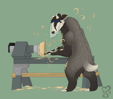 An artist at work by Sushi
