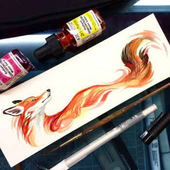 Fox Watercolor Sketch by Lucky978