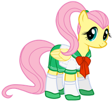 Fluttershy in school uniform by JennieOo