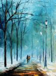 Foggy stroll oil painting on canvas by L.Afremov by Leonidafremov