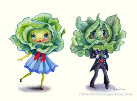 Kitschy cute Leafy Greens couple by BlueBirdie