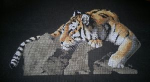 Tiger on the rock (Cross Stitch) by ouraion