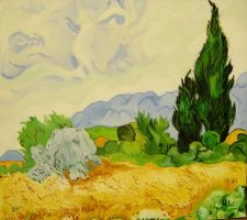 My Wheat Field with Cypresses by DilanSarioglu