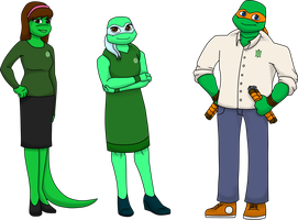 TMNT-U Class Photo 2014 - Venus, Mona, Mikey by TMNT-Raph-fan