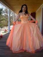 orange dress for prom by candidangels