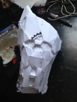 Halo 3 Spartan costume right forearm WIP 2 by W4RH0US3