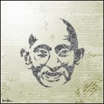 Stencillage: Gandhi In Bars by ispec