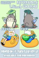 Totoro and Adventure Time 1.5 inch charms by ComplexWish
