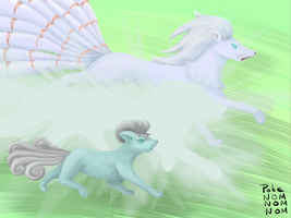 Evolution: Shiny Winter Vulpix by PokeNOMNOMNOM
