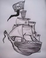 Ink Painting: Pirate Ship by starbuxx