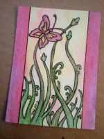 Pink Spring Butterfly ACEO by strryeyedreamr27