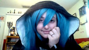 Vocaloid cosplay. miku in a hoodie by CosplayQueendom