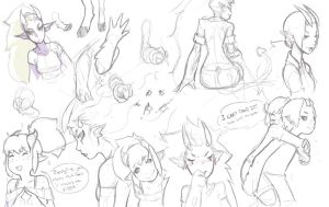 Mylia and Sam sketches by EymBee