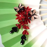 Kiku and butterflies kanzashi by elblack