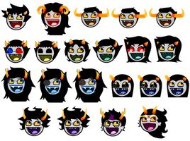 Homestuck Troll Awesome Smiley Icons Full Set by Warcry31