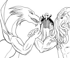 Epic Arm Wrestling Match - INK by BardicKitty